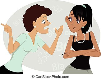 Portrait of two cartoon women talking, vector illustration