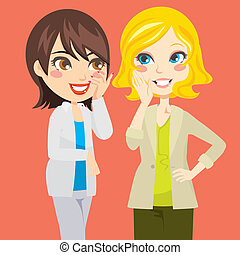 Gossiping Women - Pretty blond and brunette women gossiping...