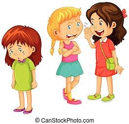 gossipping, annat, flickor, vän