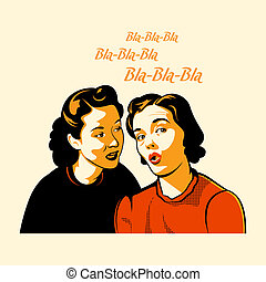 Vintage girls gossiping the latest shocking news