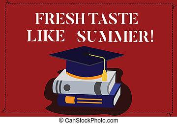 gosto, foto, sinal, ano, sabor, cor, texto, conceitual, chapéu, 3d, descansar, bom, estação, mostrando, ensolarado, tassel, semelhante, semelhante, books., boné, graduação, acadêmico, fresco, summer.