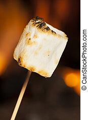 gostosa, branca, macio, assado, marshmallows