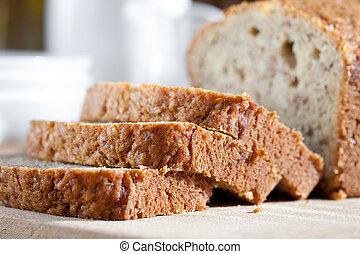gostosa, freshly, assado, banana, pão, ligado, tábua madeira