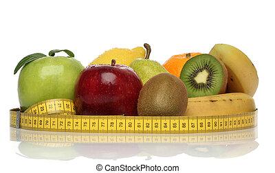 gostosa, grupo, de, saudável, frutas, isolado, branco