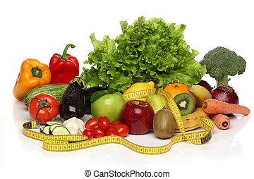 gostosa, grupo, de, saudável, legumes, isolado, branco