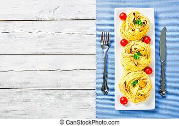 gostosa, italiano, macarronada, com, mexilhões, vista superior