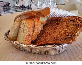gostoso, fatias, pão