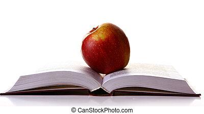 gostoso, maçã vermelha, ligado, a, livro