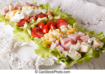 gostoso, salada cobb, close-up, ligado, a, tabela., horizontais
