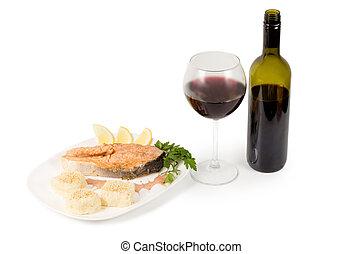gostoso, salmão, servido, com, vinho tinto