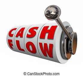 gotówka cieknięcie, automat, koła, wzrastać, dochód, dochód,...