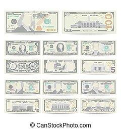 gotówka, komplet, illustration., banknot, pieniądze, boki, note., dolar, odizolowany, na, dwa, waluta, amerykanka, każdy, vector., currency., dolary, określenie, rysunek, symbol., halabarda