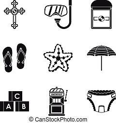 gotówka, mnóstwo, ikony, komplet, prosty, styl