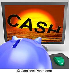 gotówka, tonięcie, na, hydromonitor, pokaz, monetarny, kryzys