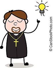 Got an Idea - Cartoon Priest Monk Vector Illustration