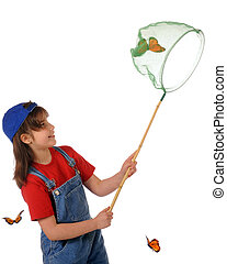 An elementary girl happy with her success in catching a large monarch butterfly in her net. Isolated on white.