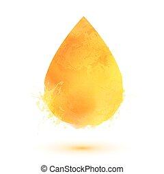 gota óleo, isolado, amarela, aquarela, branca