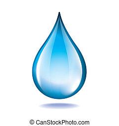 gota agua, aislado, blanco, vector