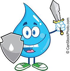 gota agua, caricatura, guarder