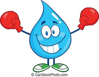 gota agua, con, guantes de boxeo