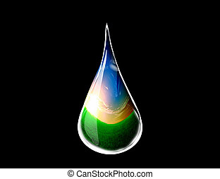 gota agua, con, un, paisaje