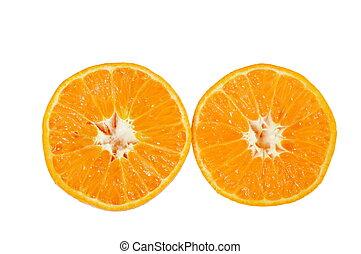 gota, agua, corte, plano de fondo, mitad, naranja, blanco