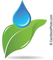 gota agua, en, hoja, logotipo