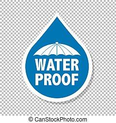 gota agua, etiqueta