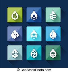 gota agua, iconos, en, plano, diseño, style.