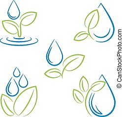 gota agua, y, hoja, símbolo, vector, conjunto