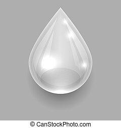 gota, cinzento, transparente, água, único, vetorial, fundo, template.