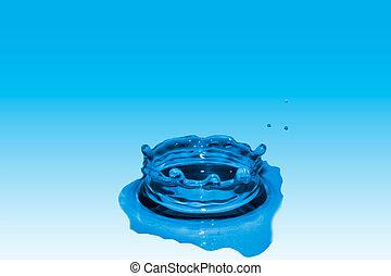 gota, de, agua, azul