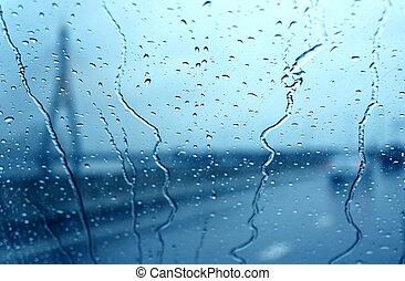 gota de agua, en, ventana de coche