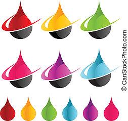 gota de agua, swoosh, colorido, iconos
