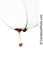 gota, de, vino, caer, de, un, vidrio vino
