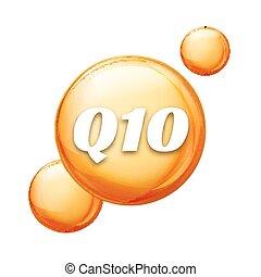 gota del aceite, salud, capsule., vector, cuidado, q10, icon., piel, dorado, coenzyme, píldora, q10., tratamiento