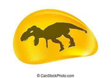 gota, dinossauro, fossilised, branca, isolado, experiência...