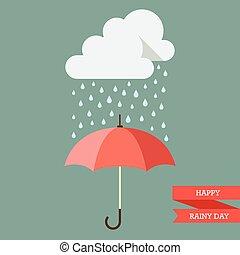 gota, paraguas, nube, lluvia