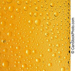 gotas água, experiência., amarela