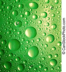 gotas água, experiência., verde