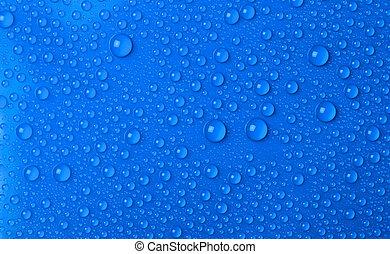gotas água, fundo, azul