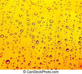 gotas, amarela, chuva