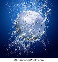 gotas, ao redor, água, bola, sob, futebol
