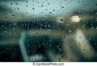 gotas de lluvia, edificio, a través de ventana, confuso