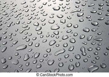 gotas de lluvia, en, plata, superficie