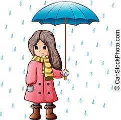 gotas de lluvia, niña, paraguas, debajo