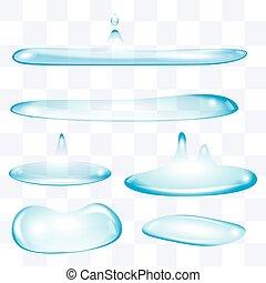 gotas del agua, conjunto, aplanar