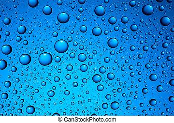 gotas del agua, en, azul