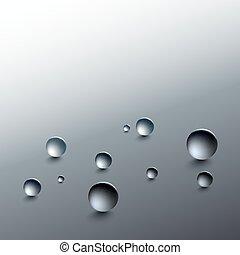 gotas del agua, en, un, gris, fondo., redondo, gotas de lluvia, con, sombras, inclinado, surface., vector, illustration.