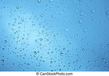 gotas del agua, en, vidrio, ventana., xxl